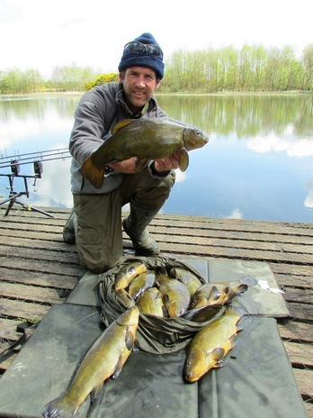 Picture 5 Dan with eleven Tench average weight 3lb 14oz all caught along the lilies over a bed of casters and hemp